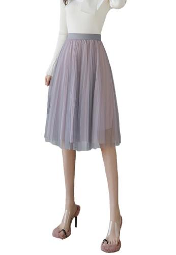 Halo grey and pink Layered Net Yarn Midi Skirt 67FC4AADB53EE5GS_1