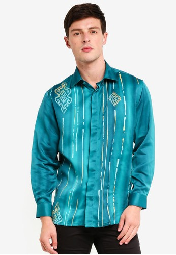 Gene Martino green Men's Batik Islamic Motif Shirt 190F7AABB43F6FGS_1