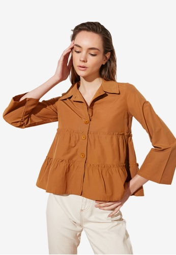 Trendyol brown Basic Tiered Smock Blouse E3E18AA9C62724GS_1