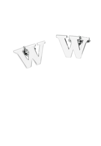 Glamorousky silver Simple Personality English Alphabet W Cufflinks 5D8C5AC859154DGS_1