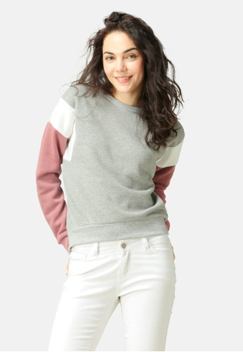 London Rag grey Color Block Sweatshirt 2F06FAA38AE18DGS_1