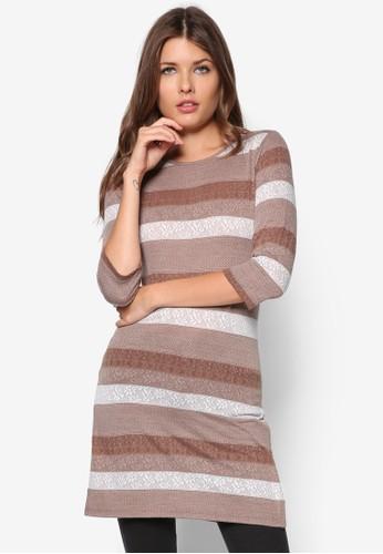 Coffezalora 內衣e Textured Stripe Tunic, 服飾, 短洋裝