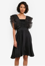 bYSI black Pleated Shoulder Strap Dress BY867AA0S3KGMY_1