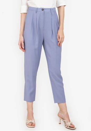 ZALORA WORK blue Pleat Detail Pants A6FDFAA3C96074GS_1