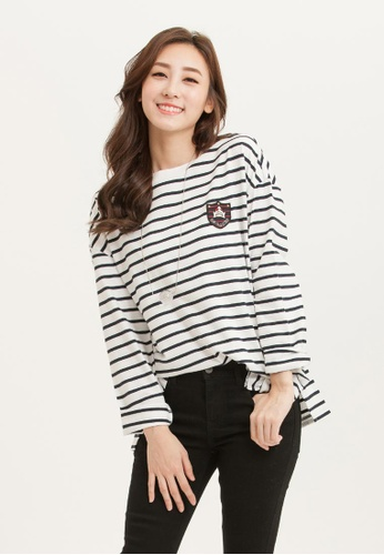 H:CONNECT white SHARKEE Long Sleeve Stripe T-Shirt 8D2ACAAF75F39EGS_1