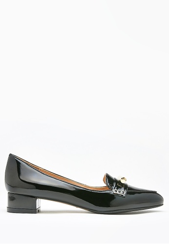 PAZZION black Glossy Embellished Loafer Pumps CA2B0SH6A151A5GS_1