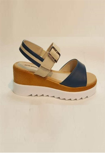 Crystal Korea Fashion white and navy Korean-made Summer Hit Color Platform Sandals 1B9A4SHEFA0F2DGS_1