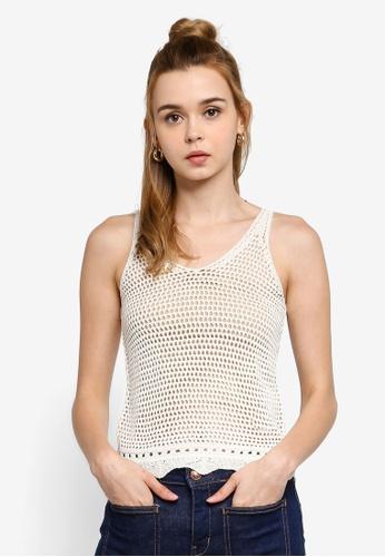 JACQUELINE DE YONG 米褐色 無袖針織上衣 4F09AAAAAB4B2BGS_1