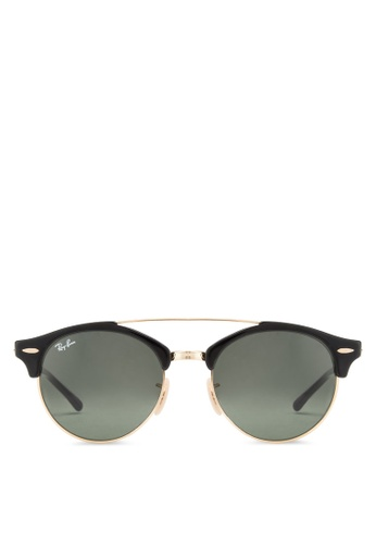 bd483b401b1cad Ray-Ban black Clubround Double Bridge RB4346 Sunglasses RA896GL95EDGMY 1