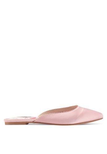Nose pink Satin Flat Slip On Mules F0F1FSH88609AFGS_1