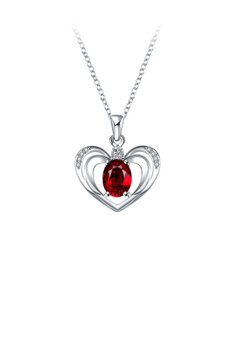 Glamorousky red Fashion Hollow Heart Pendant with Red Cubic Zircon and Necklace 4DF6DAC1855ECBGS_1