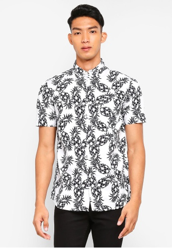 Topman white White And Black Pineapple Short Sleeve Shirt B214DAA362FB46GS_1