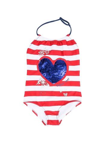 Desigual red Stripe Swimsuit 46DC7KA6EFB78AGS_1
