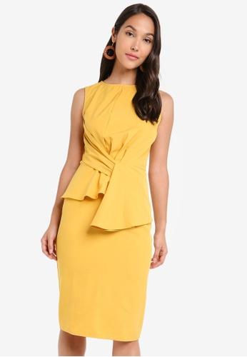ZALORA 黃色 無袖荷葉飾洋裝 E7008AA58BCB2AGS_1