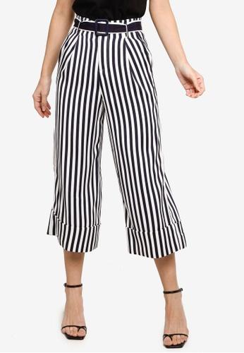 Hopeshow navy Paperbag Waist Striped Flare Cuff Capri Pants FAB86AA598D6C6GS_1