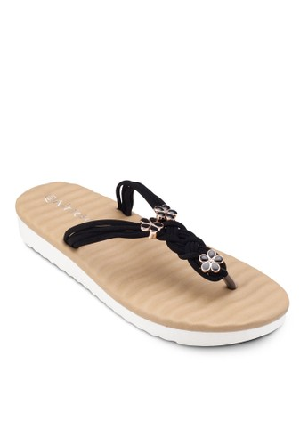 esprit女裝花飾編織夾腳涼鞋, 女鞋, 涼鞋