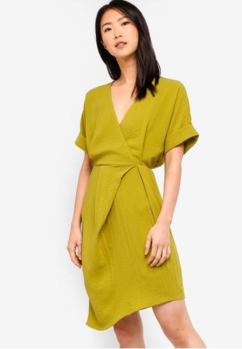 ZALORA BASICS yellow Basic Asymmetrical Gathered Wrap Dress E8C40AAFFD90F0GS_1