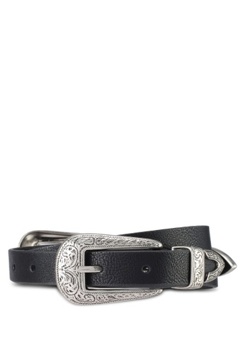 TOPSHOP black Slim Double Buckle Belt 44135AC4101C65GS_1