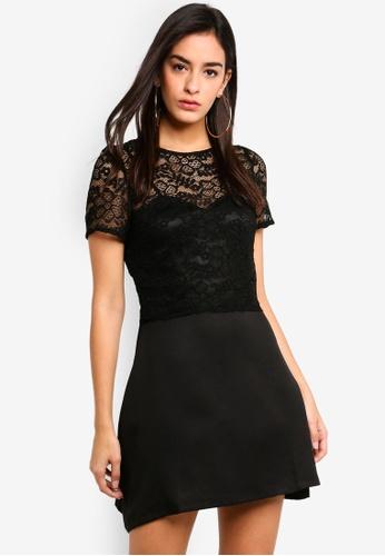 MISSGUIDED 黑色 蕾絲上衣短洋裝 DADB4AA84FB90CGS_1