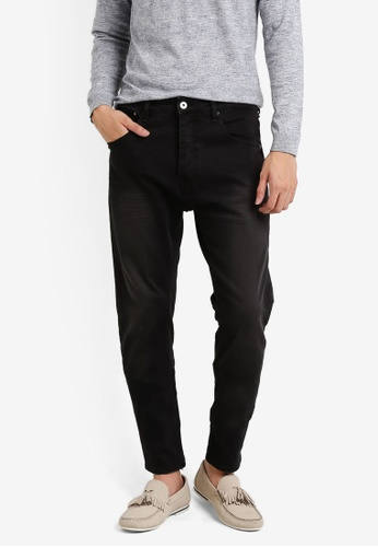 CR7 black Type T Tapered Basic Five Pocket Jeans CR532AA82EFLMY_1