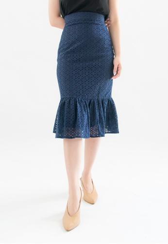Love Knot blue Wonda Ruffle Hem Eyelet Skirt (Navy) 19ADEAA008FBC0GS_1
