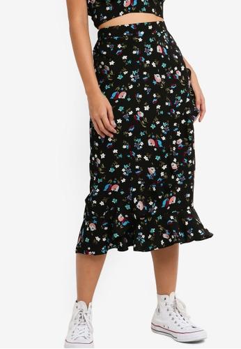 Something Borrowed 黑色 Overlap Ruffles Midi Skirt 1B7F8AA26034C1GS_1