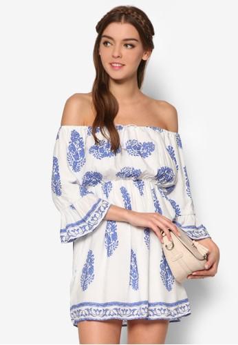 寬領荷葉七分袖小洋裝、 服飾、 印花時代KLEEaisons寬領荷葉七分袖小洋裝最新折價