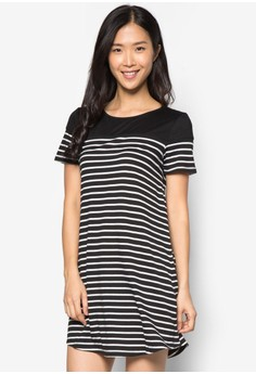 Basics Striped Dress With Yoke
