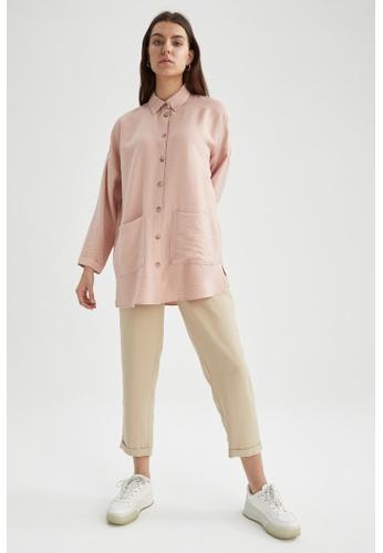 DeFacto pink Long Sleeve Shirt Tunic 552D6AAAD67FAFGS_1