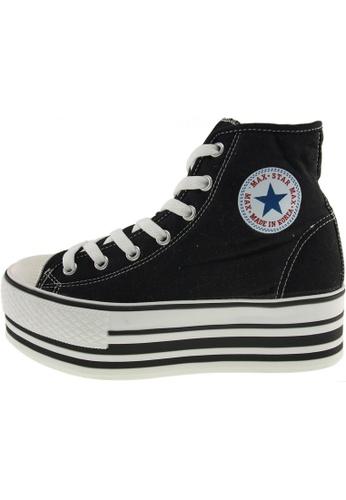 Maxstar 黑色 新款韩国鞋C50-7H-Stripe時尚帆布布混合女黑色 US Women Size MA345SH51GVCTW_1
