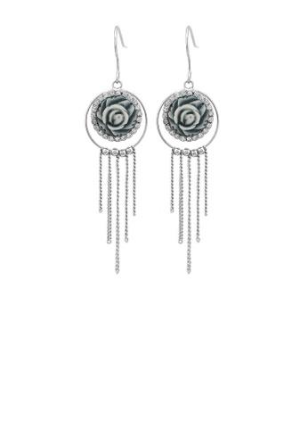 Glamorousky silver Elegant Rose Earrings with Silver Austrian Element Crystal 9FB72AC590B005GS_1
