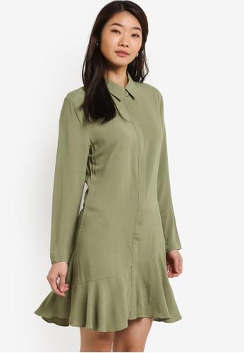 ZALORA green Long Sleeves Frill Hem Dress 49239AAE166712GS_1
