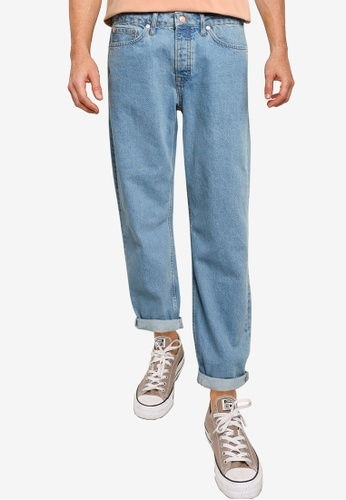 Topman blue Mid Wash Relaxed Jeans 6320EAA5444ECEGS_1