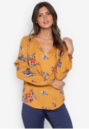DEBENHAMS yellow The Collection - Col Floral Dot Print Ruffle Sleeve Blouse E25ACAA1463938GS_1