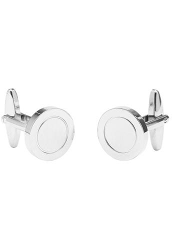 Buckle silver Round Nickel Cufflinks A73A0AC66FC8B6GS_1
