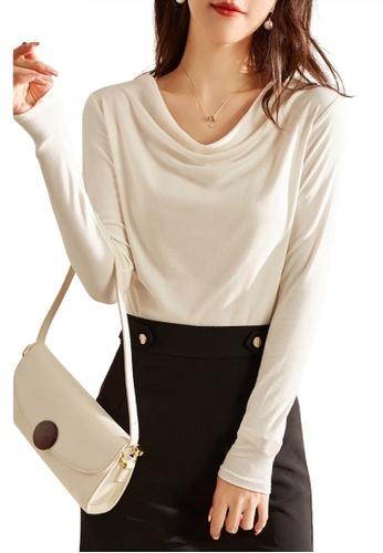 HAPPY FRIDAYS white Drape Collar Long Sleeve Top JW ZX-60220 9FABBAA5D04A4BGS_1