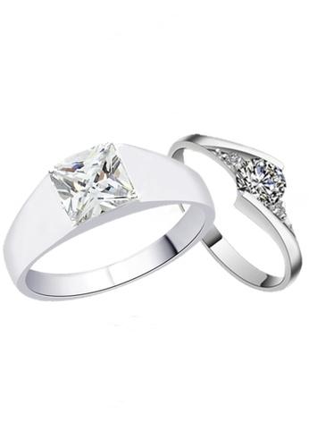 Elfi white and silver Elfi 925 Genuine Silver Couple Ring C28 EL186AC86EOBMY_1