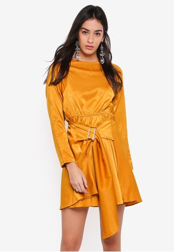 GHOSPELL yellow Forbidden Belted Dress 4C7CEAAF259399GS_1