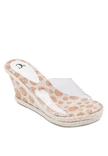 透明露趾印花楔型跟涼鞋, 女鞋esprit hk office, 鞋