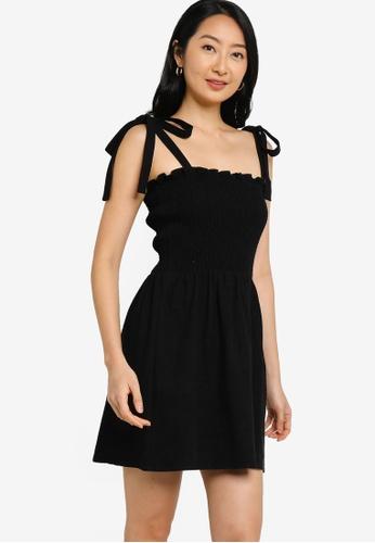 ZALORA BASICS black Tie Straps Full Smocking Dress 80151AA7A7B790GS_1