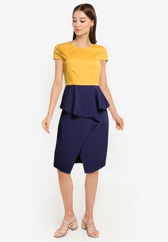 ZALORA WORK yellow and navy Waterfall Detail Dress 4B191AA85C3921GS_1