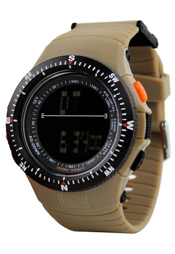 Skmei brown SKMEI 0989 Men's Military LED Digital Watch (Khaki) SK707AC0RXNZMY_1
