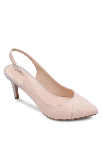 撞色zalora 包包 ptt拼接繞踝高跟鞋, 女鞋, 厚底高跟鞋