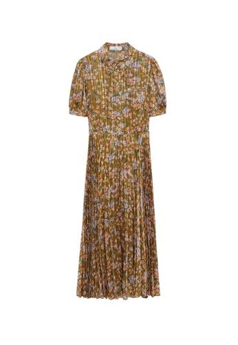 Mango yellow Pleated Floral Dress FD3C5AAECB8CA4GS_1