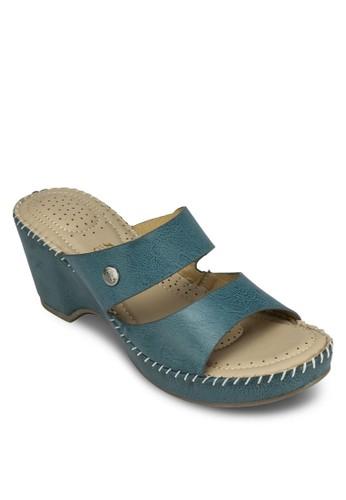 Baizalora 手錶ley 鉚釘寬帶粗跟涼鞋, 女鞋, 中跟