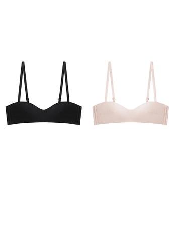 K.Excellence pink Two Premium Comfort Black&pink Lingerie (2 Bras) 00A3AUS0E0C5E6GS_1