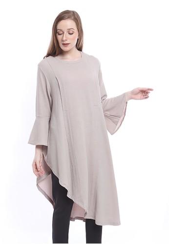Evernoon grey Inara Tunik Lengan Ruffle Model Asimetris Baju Atasan Plain Wanita Premium Quality - Grey Mint 3ED18AAD84E54CGS_1