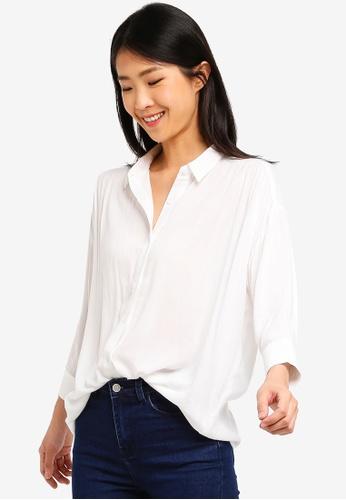 ZALORA BASICS white Oversized Gathered Shirt 04BD9AA6ED37C0GS_1