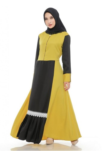First Hijab yellow Dress Hanessa Ghaitsa in Yellow CF80AAA36B9CD4GS_1