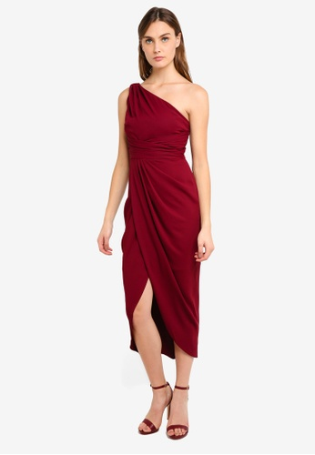 Forever New red Mandy One Shoulder Drape Midi Dress FA4A2AA3BE9D65GS_1